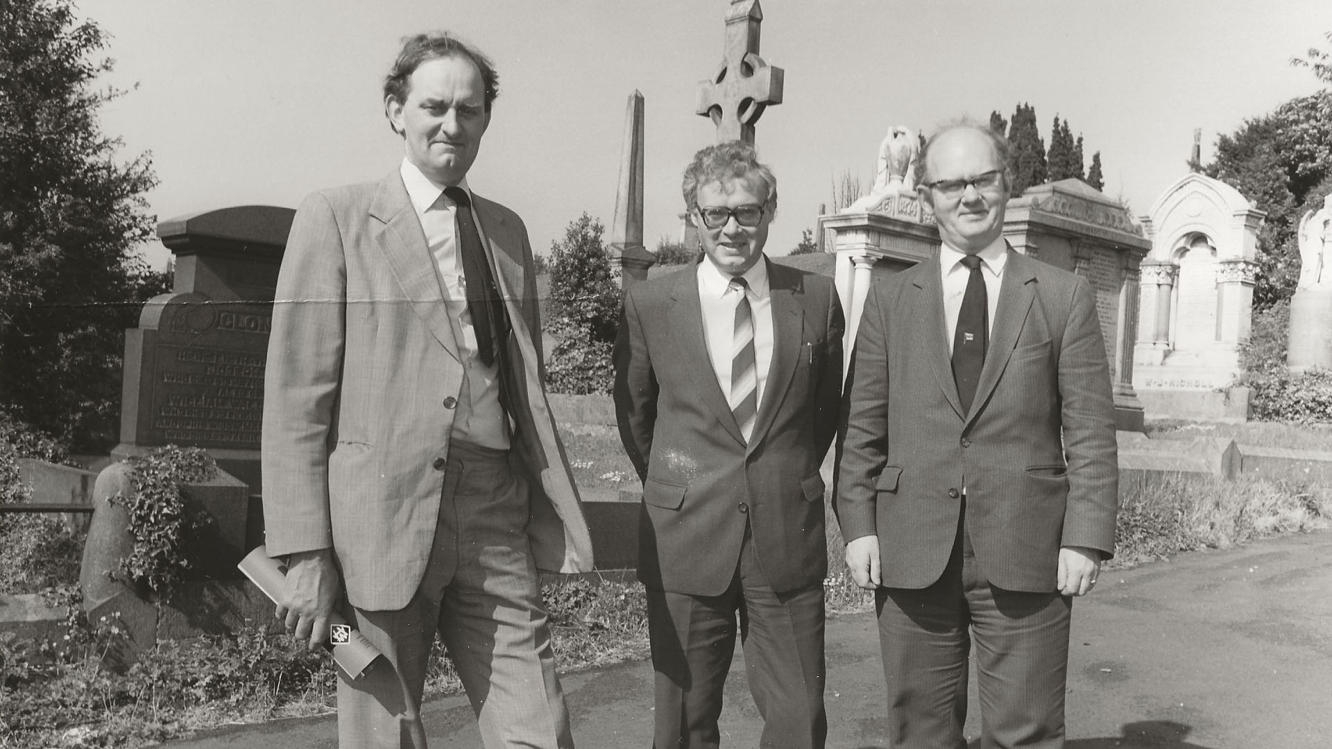 Co-Authors of 'Shipbuilders to the World' at Belfast City Cemetery viewing Lord Pirrie's Memorial, about 1985.